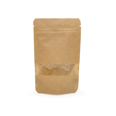 Sav On Bags >> 1 Oz Kraft Stand Up Pouch With Rectangle Window