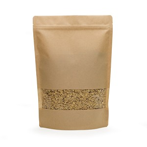 500 g Natural Kraft Stand Up Pouch with Rectangle Window