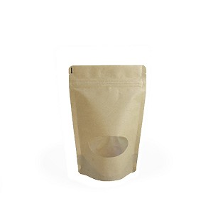 2 oz Natural Kraft Stand Up Pouch with Oval Window