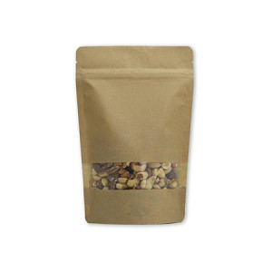 8 oz Kraft Stand Up Pouch with Rectangle Window