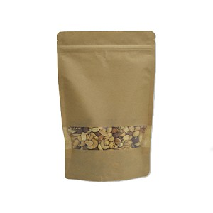 10 oz Kraft Stand Up Pouch with Rectangle Window