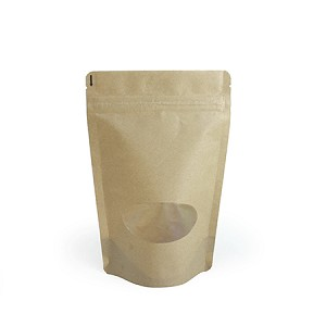 16 oz Kraft Stand Up Pouch with Oval Window