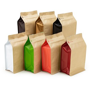 12 oz Natural Kraft Box Pouch with Colored Sides