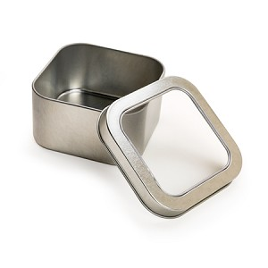 95 x 95 x 52 mm Rounded Square Tin with Window