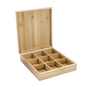 9 slot Bamboo Box for Tea Bags