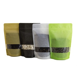 16 oz Rice Paper Stand Up Pouch with Rectangle Window