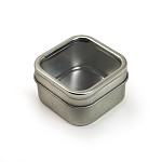 50 x 50 x 30 mm Rounded Square Tin with Window