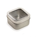 60 x 60 x 35 mm Rounded Square Tin with Window