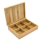 6 slot Bamboo Box for Tea Bags