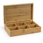 6 slot Bamboo Box for Tea Sachets
